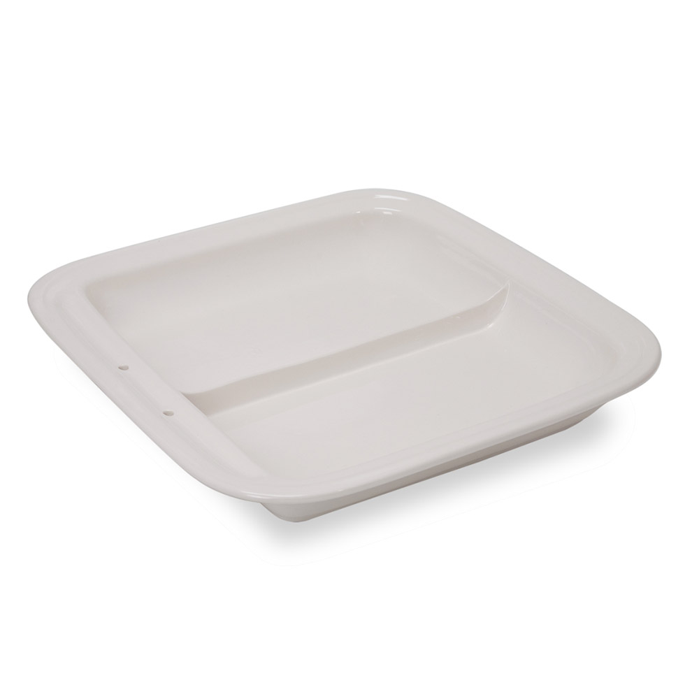 Vollrath 49136 6-qt Square Induction Chafer Replacement Porcelain Food Pan - Divided