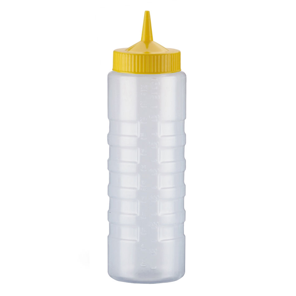 Vollrath 4924-1308 24-oz Squeeze Bottle Dispenser - Wide Mouth, Clear with Yellow Cap