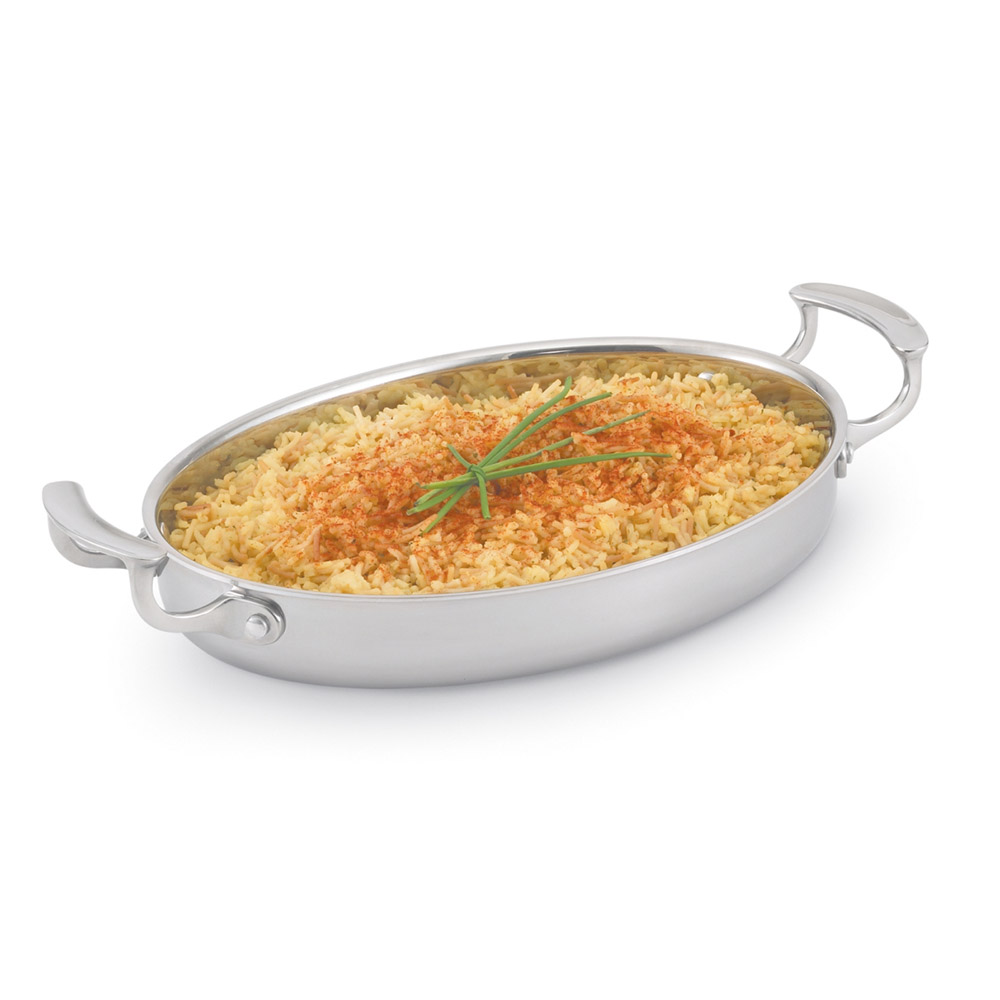 "Vollrath 49412 12"" Oval Au Gratin - Aluminum Bottom, 18-ga Stainless"