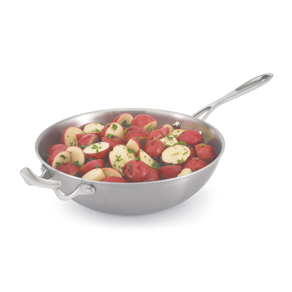 "Vollrath 49418 12"" Stir-Fry Pan - Aluminum Bottom, 18-ga Stainless"