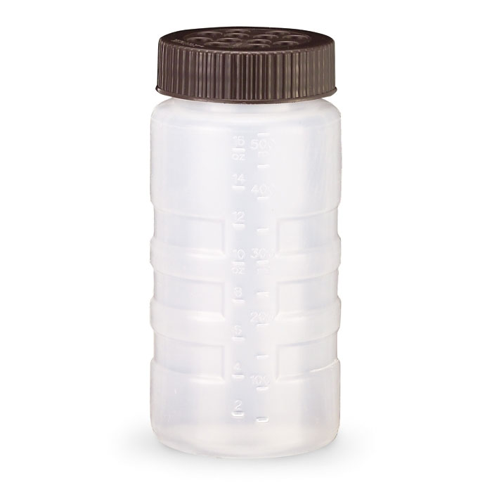 Vollrath 4961-1301 16-oz Dredge - Ex-Large Holes, Brown Lid, Clear