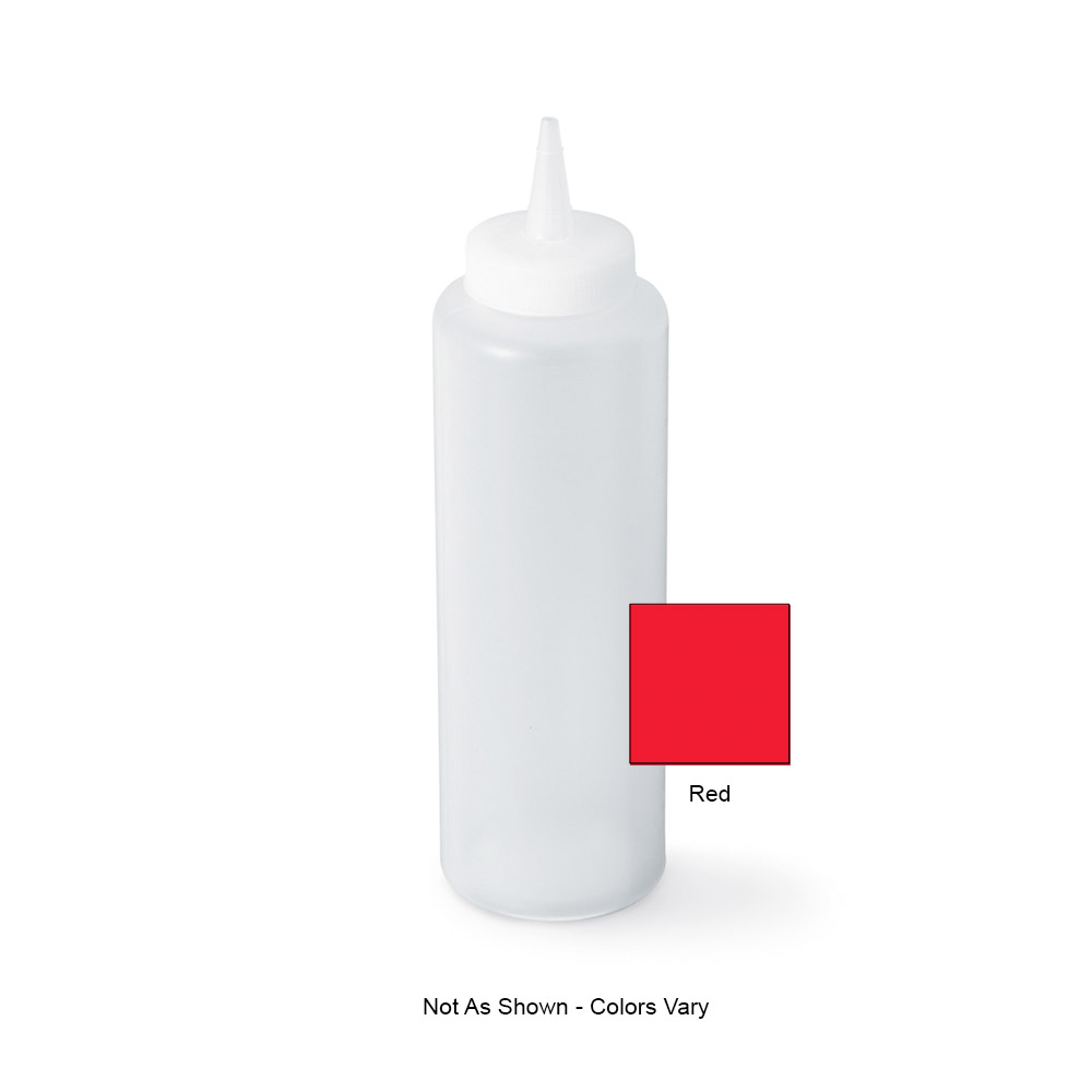 Vollrath 52064 12-oz Squeeze Bottle - Slim, Red Plastic
