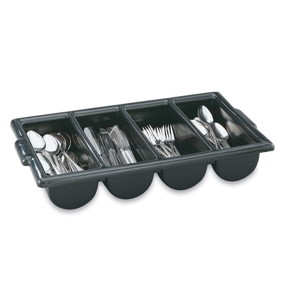 Vollrath 52653 Cutlery Dispenser - 4-Compartment, Black