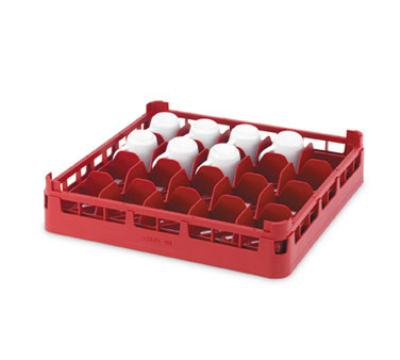 "Vollrath 52674 Dishwasher 16-Cup Rack - Short, Full-Size, 19-3/4x19-3/4"" Burgundy"