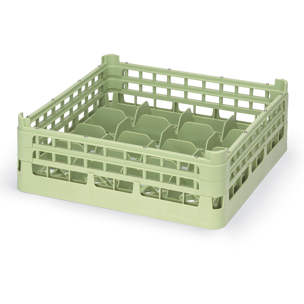 "Vollrath 52676 1 Dishwasher 16-Cup Rack - Medium, Full-Size, 19-3/4x19-3/4"" Green"