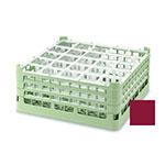 "Vollrath 52684 9 Dishwasher Rack - 25-Compartment, Short, Full-Size, 19-3/4x19-3/4"" Burgundy"