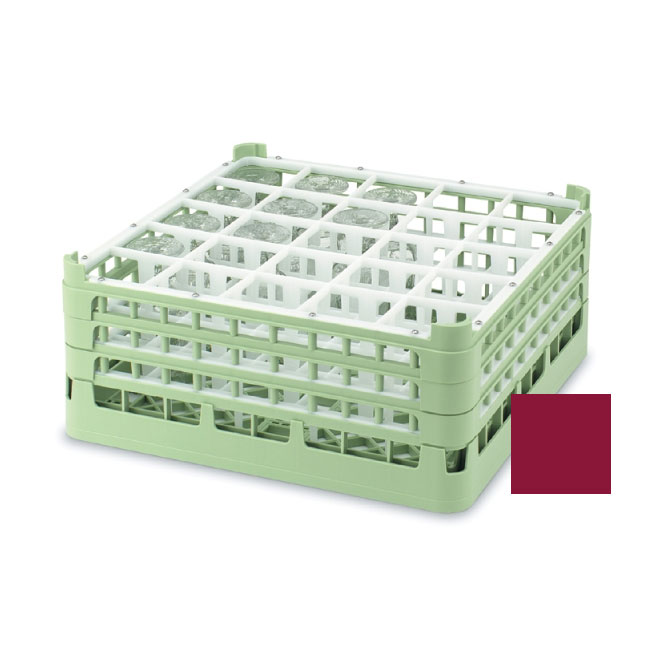 "Vollrath 52684 9 Dishwasher Rack - 25-Compartment, Short, Full-Size, 19-3/4x19-3/4"" Burgundy"