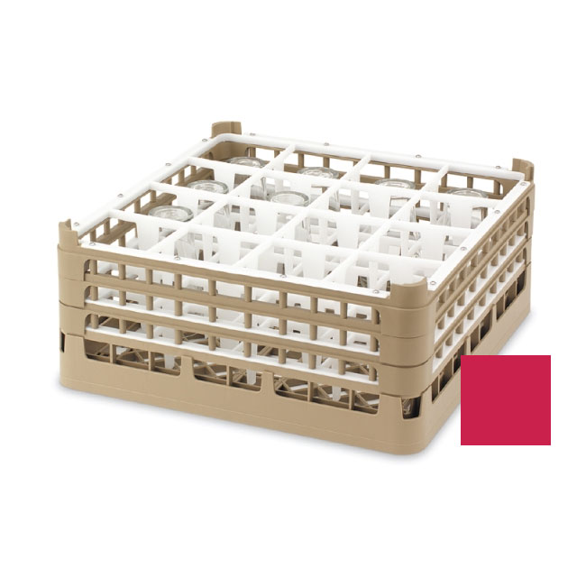 "Vollrath 52694 3 Dishwasher Rack - 16-Compartment, Short, Full-Size, 19-3/4x19-3/4"" Red"