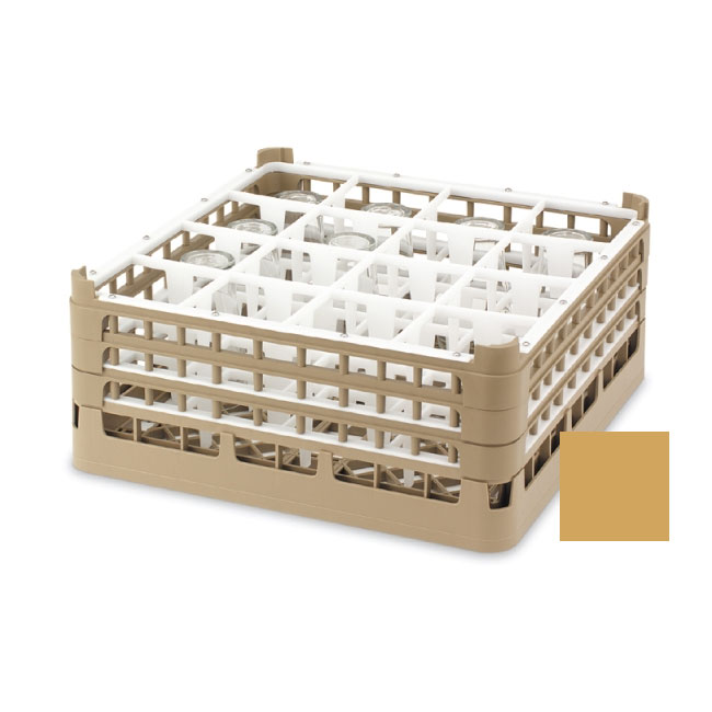 """Vollrath 52694 5 Dishwasher Rack - 16-Compartment, Short, Full-Size, 19-3/4x19-3/4"""" Gold"""
