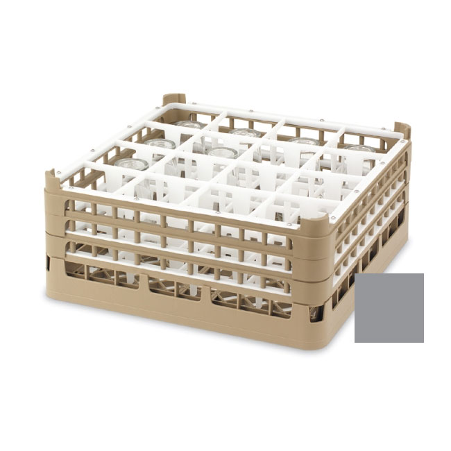 """Vollrath 52694 6 Dishwasher Rack - 16-Compartment, Short, Full-Size, 19-3/4x19-3/4"""" Gray"""