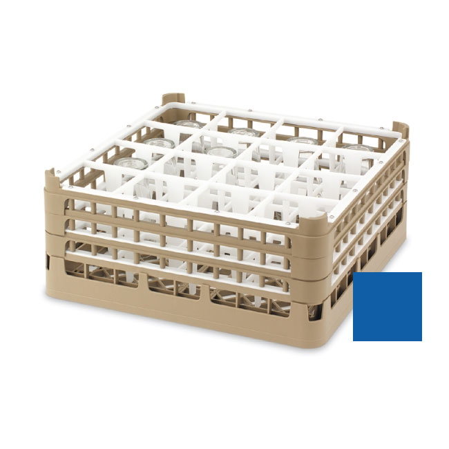 "Vollrath 52694 7 Dishwasher Rack - 16-Compartment, Short, Full-Size, 19-3/4x19-3/4"" Royal Blue"