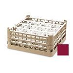 "Vollrath 52694 9 Dishwasher Rack - 16-Compartment, Short, Full-Size, 19-3/4x19-3/4"" Burgundy"