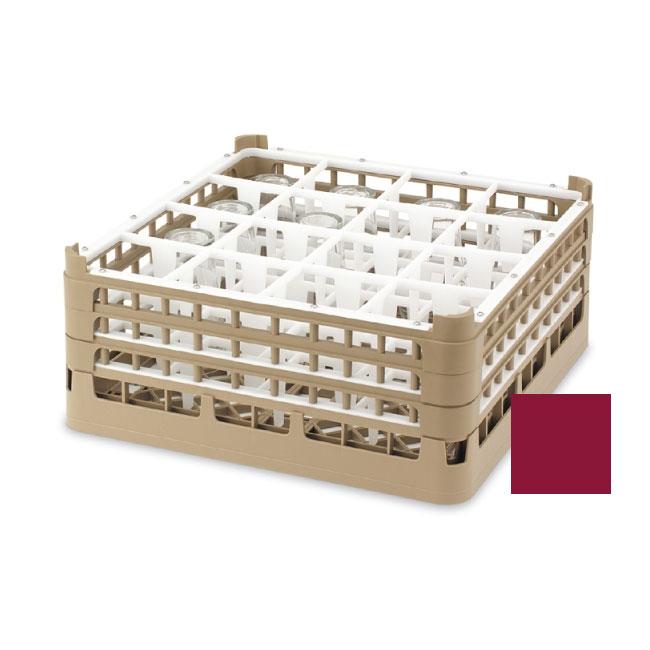 "Vollrath 52694 9 Dishwasher Rack - 16-Compartment, Short, Full-Size, 19-3/4x19-3/4"" Burgundy"
