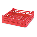 "Vollrath 52696 3 Open Dishwasher Rack - Short, Ex-Height, Full-Size, 19-3/4x19-3/4"" Red"