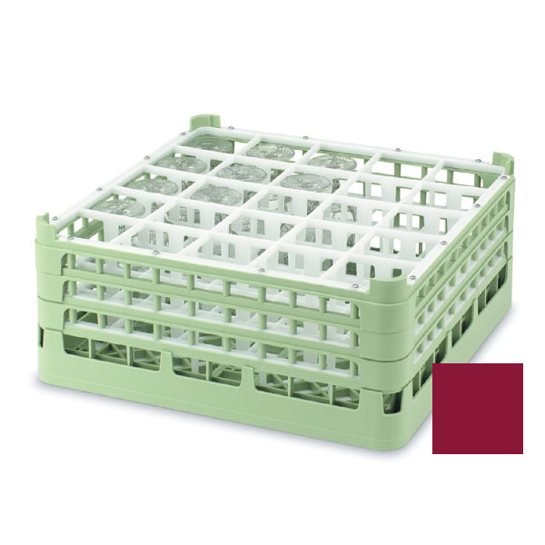 "Vollrath 52711 9 Dishwasher Rack - 25-Compartment, Tall, Full-Size, 19-3/4x19-3/4"" Burgundy"