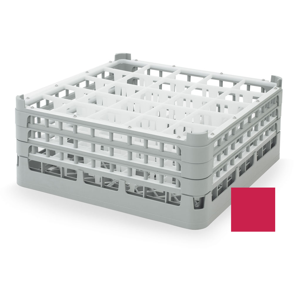 "Vollrath 52712 3 Dishwasher Rack - 25-Compartment, X-Tall, Full-Size, 19-3/4x19-3/4"" Red"
