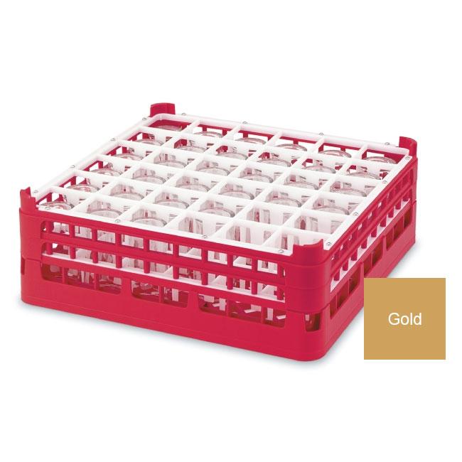 "Vollrath 52714 5 Dishwasher Rack - 36-Compartment, Medium, Full-Size, 19-3/4x19-3/4"" Gold"