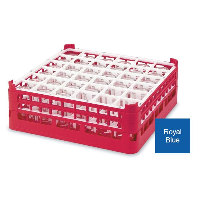"Vollrath 52714 7 Dishwasher Rack - 36-Compartment, Medium, Full-Size, 19-3/4x19-3/4"" Royal Blue"