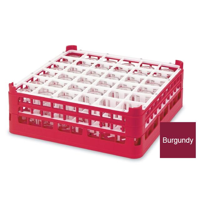 "Vollrath 52714 9 Dishwasher Rack - 36-Compartment, Medium, Full-Size, 19-3/4x19-3/4"" Burgundy"