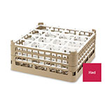 "Vollrath 52718 3 Dishwasher Rack - 16-Compartment, Medium, Full-Size, 19-3/4x19-3/4"" Red"