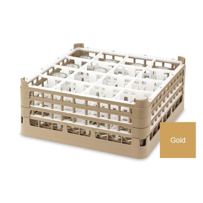 "Vollrath 52718 5 Dishwasher Rack - 16-Compartment, Medium, Full-Size, 19-3/4x19-3/4"" Gold"