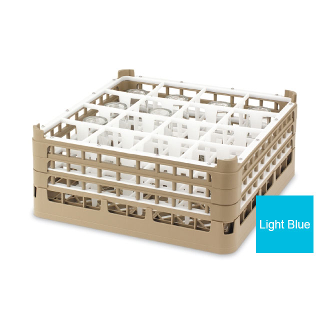 """Vollrath 52719 4 Dishwasher Rack - 16-Compartment, Tall, Full-Size, 19-3/4x19-3/4"""" Blue"""