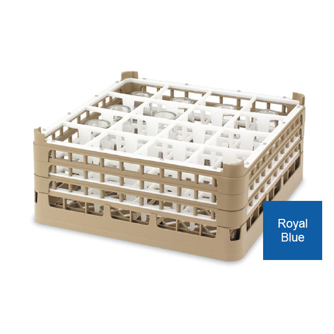 """Vollrath 52719 7 Dishwasher Rack - 16-Compartment, Tall, Full-Size, 19-3/4x19-3/4"""" Royal Blue"""