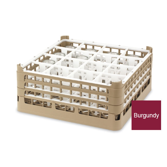 """Vollrath 52719 9 Dishwasher Rack - 16-Compartment, Tall, Full-Size, 19-3/4x19-3/4"""" Burgundy"""