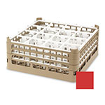 "Vollrath 52721 3 Dishwasher Rack - 16-Compartment, XX-Tall, Full-Size, 19-3/4x19-3/4"" Red"
