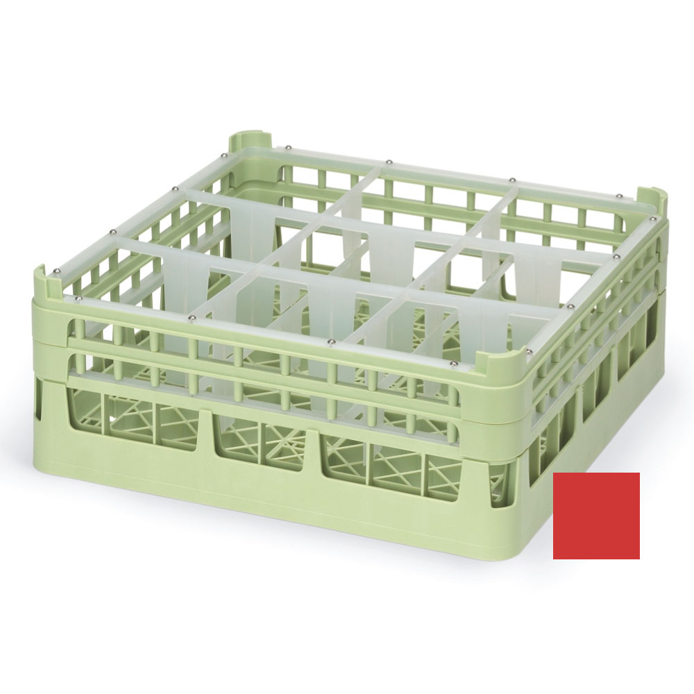 """Vollrath 52726 3 Dishwasher Rack - 9-Compartment, Short, Full-Size, 19-3/4x19-3/4"""" Red"""