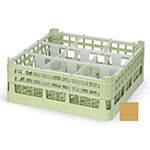 """Vollrath 52726 5 Dishwasher Rack - 9-Compartment, Short, Full-Size, 19-3/4x19-3/4"""" Gold"""