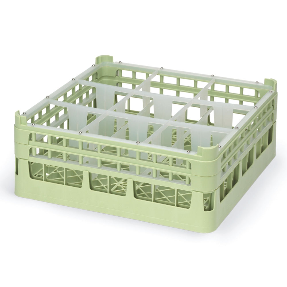 "Vollrath 52728 1 Dishwasher Rack - 9-Compartment, Tall, Full-Size, 19-3/4x19-3/4"" Green"