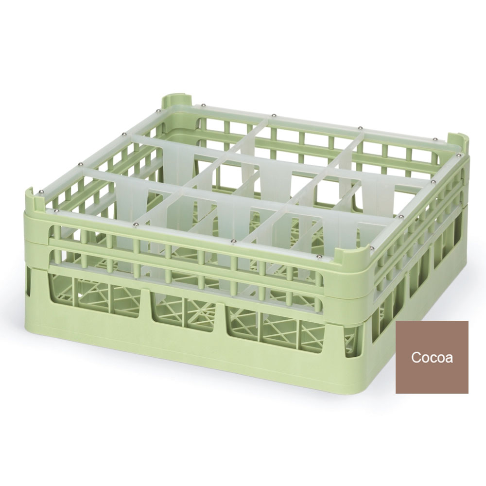 """Vollrath 52728 2 Dishwasher Rack - 9-Compartment, Tall, Full-Size, 19-3/4x19-3/4"""" Cocoa"""