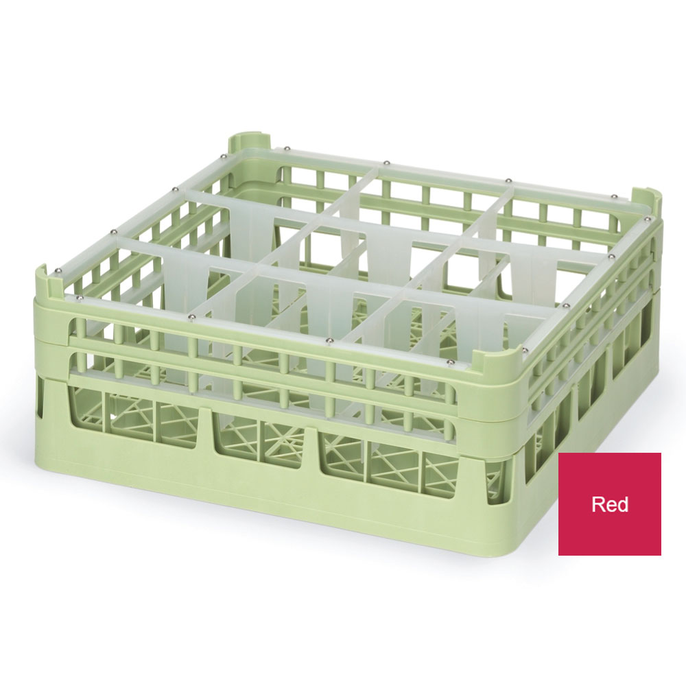 """Vollrath 52730 3 Dishwasher Rack - 9-Compartment, X-Tall, Full-Size, 19-3/4x19-3/4"""" Red"""