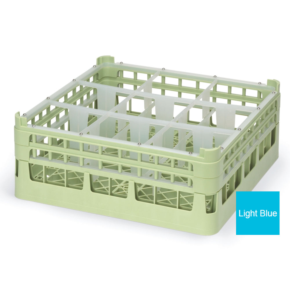"Vollrath 52730 4 Dishwasher Rack - 9-Compartment, X-Tall, Full-Size, 19-3/4x19-3/4"" Blue"