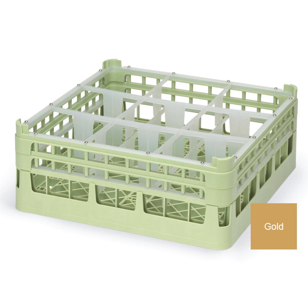 "Vollrath 52730 5 Dishwasher Rack - 9-Compartment, X-Tall, Full-Size, 19-3/4x19-3/4"" Gold"