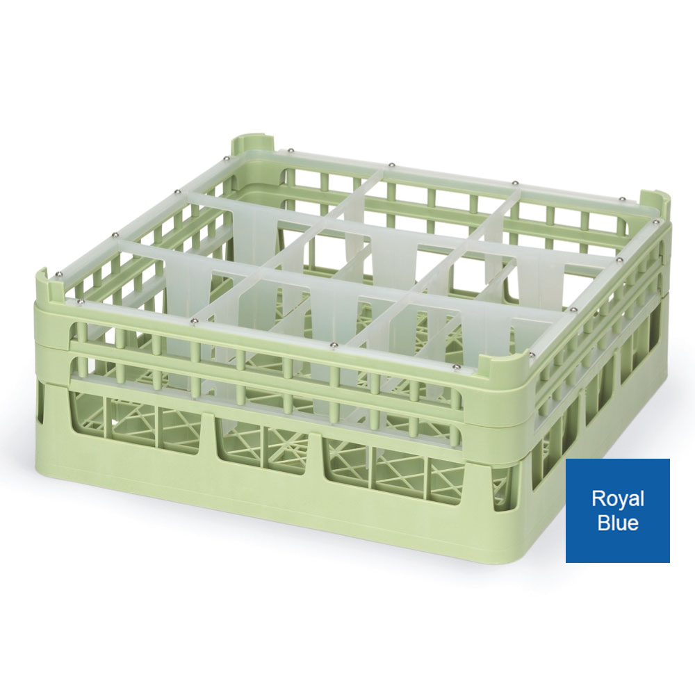 """Vollrath 52730 7 Dishwasher Rack - 9-Compartment, X-Tall, Full-Size, 19-3/4x19-3/4"""" Royal Blue"""