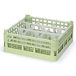 """Vollrath 52760 1 Dishwasher Rack - 9-Compartment, Short Plus, Full-Size, 19-3/4x19-3/4"""" Green"""