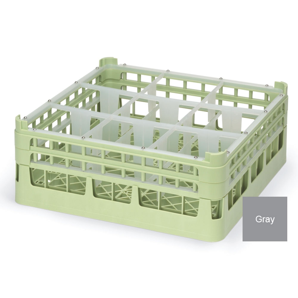 """Vollrath 52760 6 Dishwasher Rack - 9-Compartment, Short Plus, Full-Size, 19-3/4x19-3/4"""" Gray"""