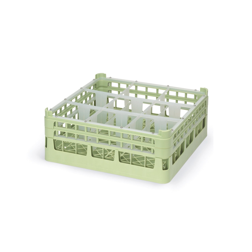"Vollrath 52762 1 Dishwasher Rack - 9-Compartment, Tall Plus, Full-Size, 19-3/4x19-3/4"" Green"