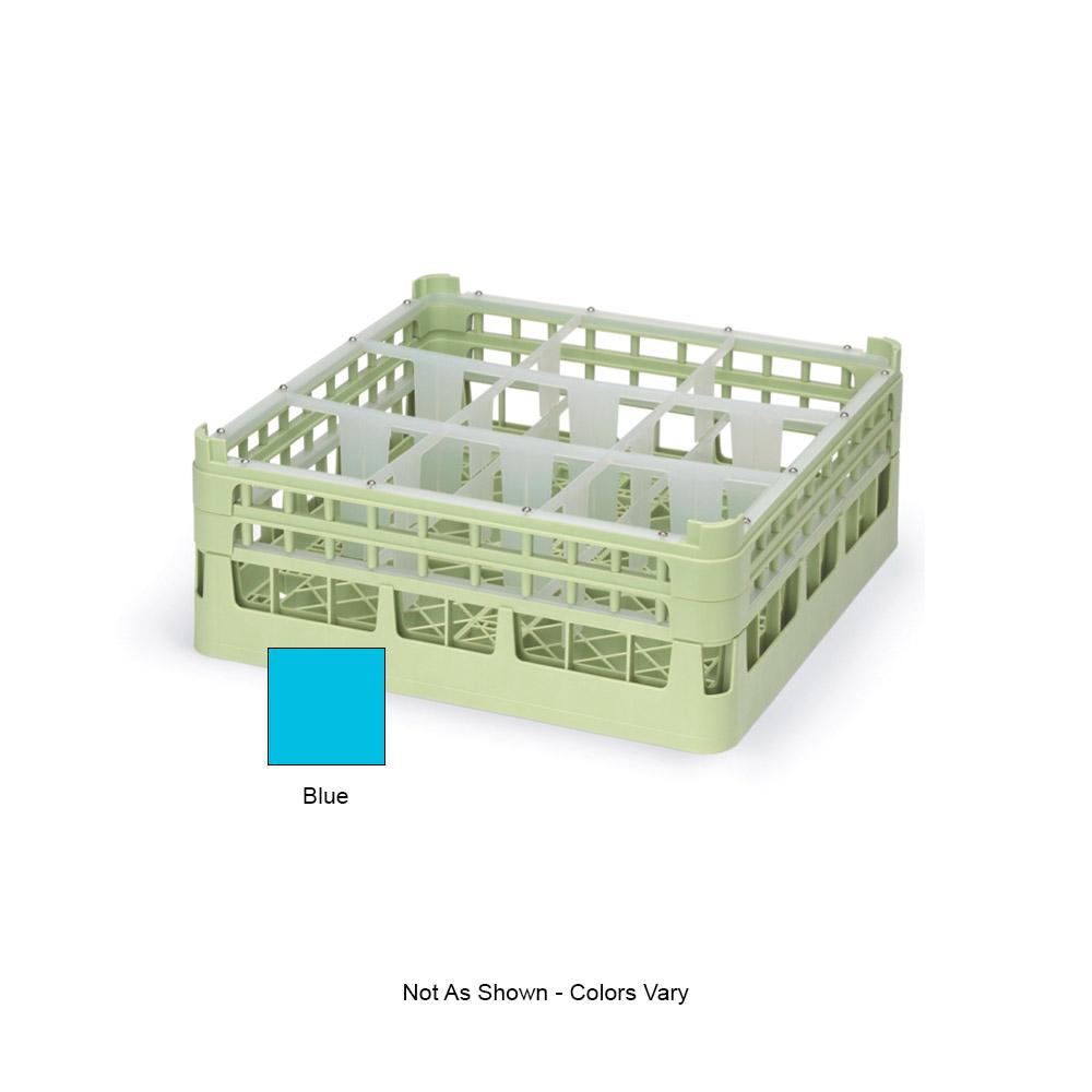 "Vollrath 52762 4 Dishwasher Rack - 9-Compartment, Tall Plus, Full-Size, 19-3/4x19-3/4"" Blue"
