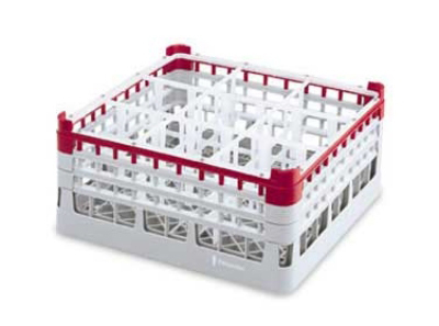 "Vollrath 52762 3 Dishwasher Rack - 9-Compartment, Tall Plus, Full-Size, 19-3/4x19-3/4"" Red"