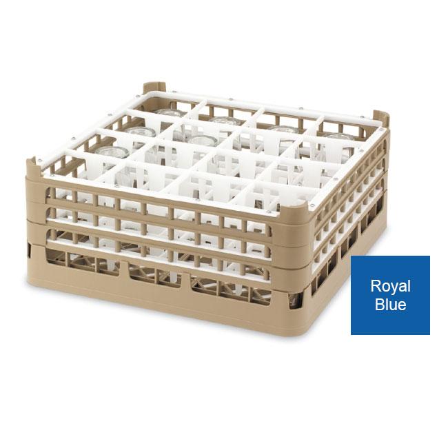 Vollrath 52766 7 Dishwasher Rack - 16-Compartment, Short Plus, Full-Size, Royal Blue