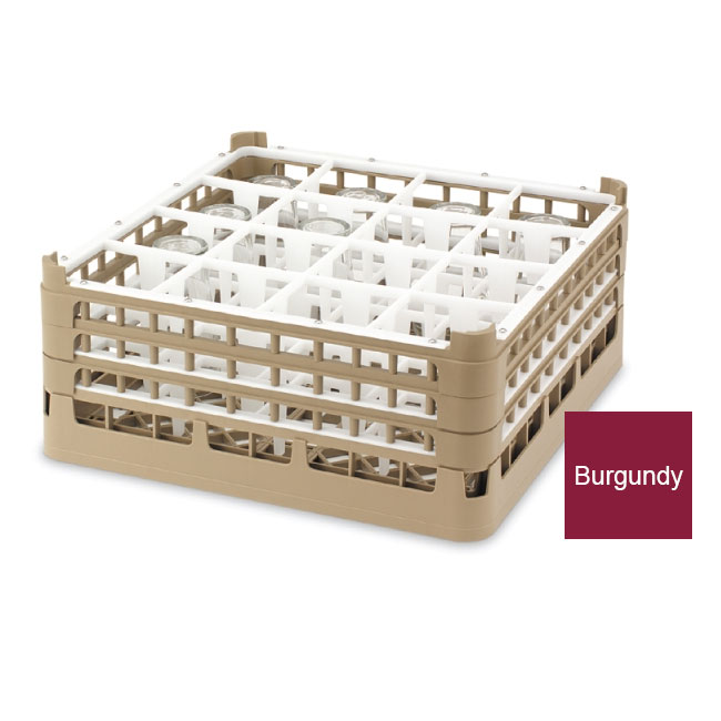 Vollrath 52766 9 Dishwasher Rack - 16-Compartment, Short Plus, Full-Size, Burgundy