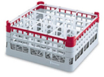 "Vollrath 52767 3 Dishwasher Rack - 16-Compartment, Medium Plus, Full-Size, 19-3/4x19-3/4"" Red"