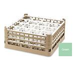 "Vollrath 52767 1 Dishwasher Rack - 16-Compartment, Medium Plus, Full-Size, 19-3/4x19-3/4"" Green"