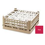 "Vollrath 52767 3 Dishwasher Rack - 16-Compartment, Medium Plus, Full-Size, 19-3/4x19-3/4"" Red"