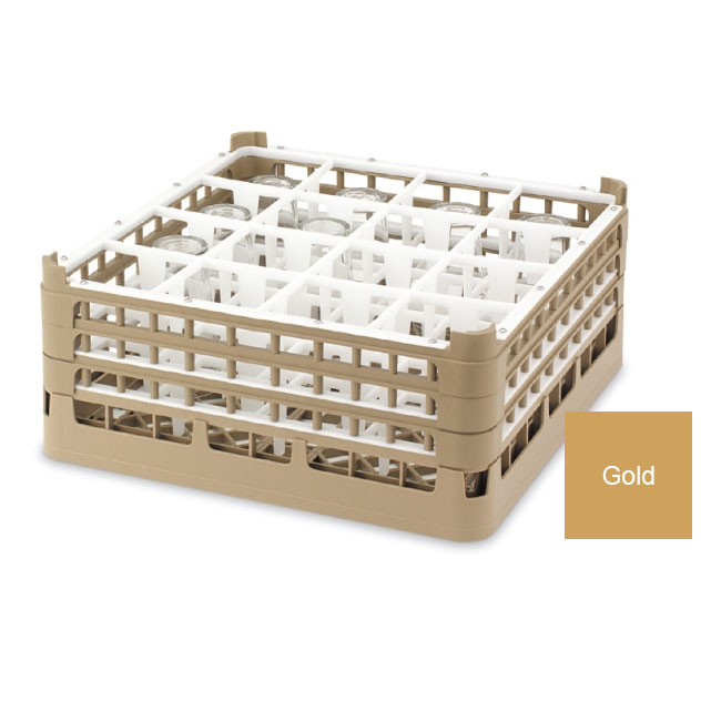 "Vollrath 52767 5 Dishwasher Rack - 16-Compartment, Medium Plus, Full-Size, 19-3/4x19-3/4"" Gold"