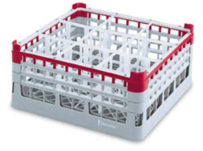 "Vollrath 52771 6 Dishwasher Rack - 16-Compartment, 3X-Tall Plus, Full-Size, 19-3/4x19-3/4"" Gray"