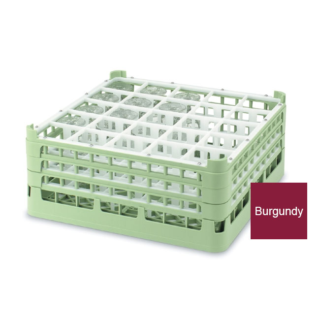 Vollrath 52772 9 Dishwasher Rack - 25-Compartment, Short Plus, Full-Size, Burgundy